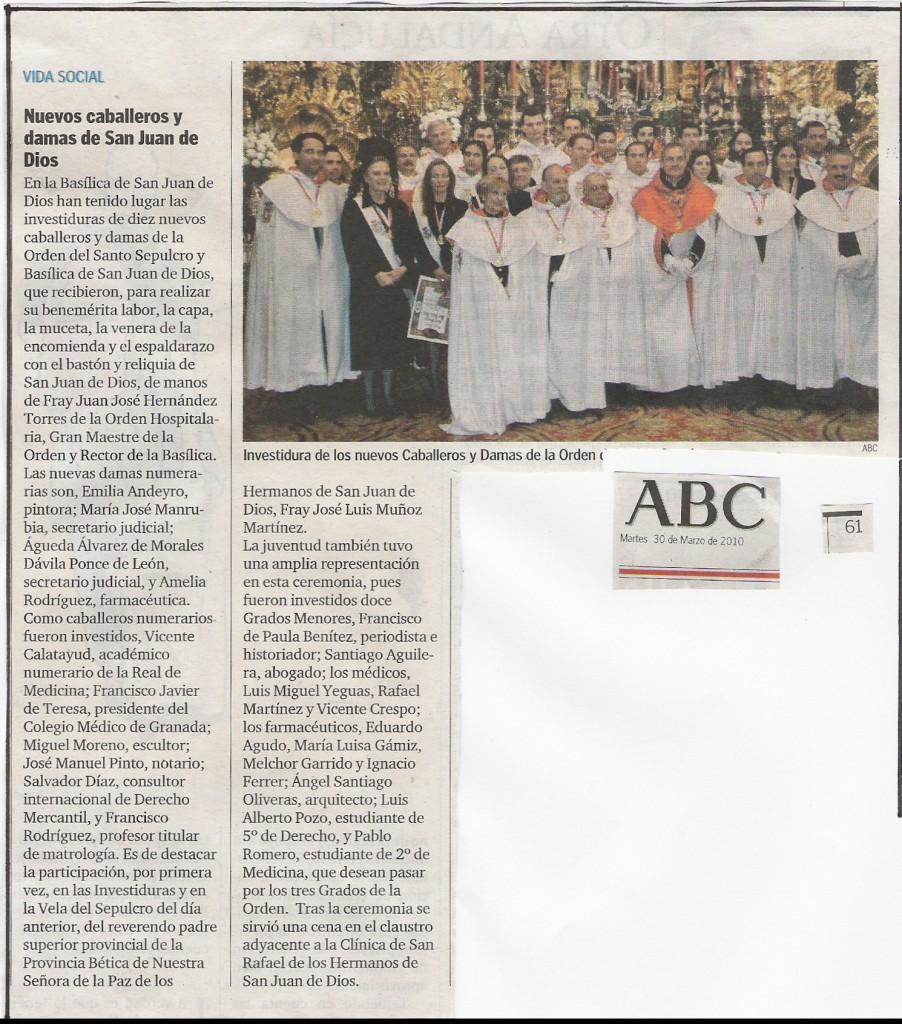 ABC, martes 30-3-2010, pág 61, Vida Social, Nuevos Caballeros y Damas de San Juan de Dios