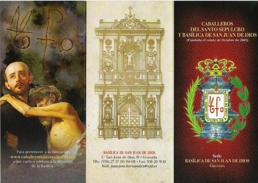 Anverso del nuevo folleto informativo de la Asociación de Caballeros y Damas de San Juan  de Dios