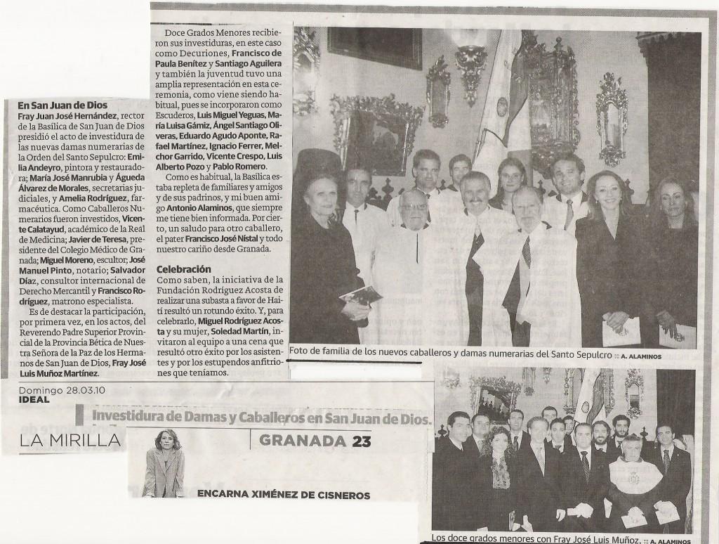 IDEAL, 28-3-2010, pág 23, Investiduras del sábado 27 en San Juan de Dios
