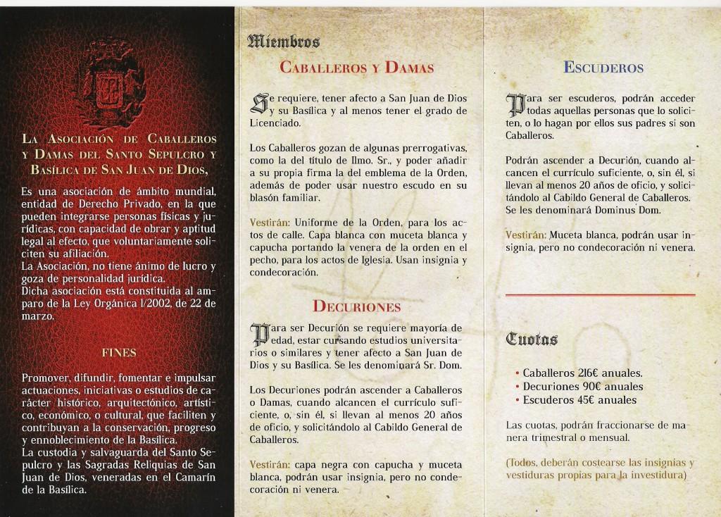 Reverso del nuevo folleto informativo de la Asociación de Caballeros y Damas de San Juan de Dios