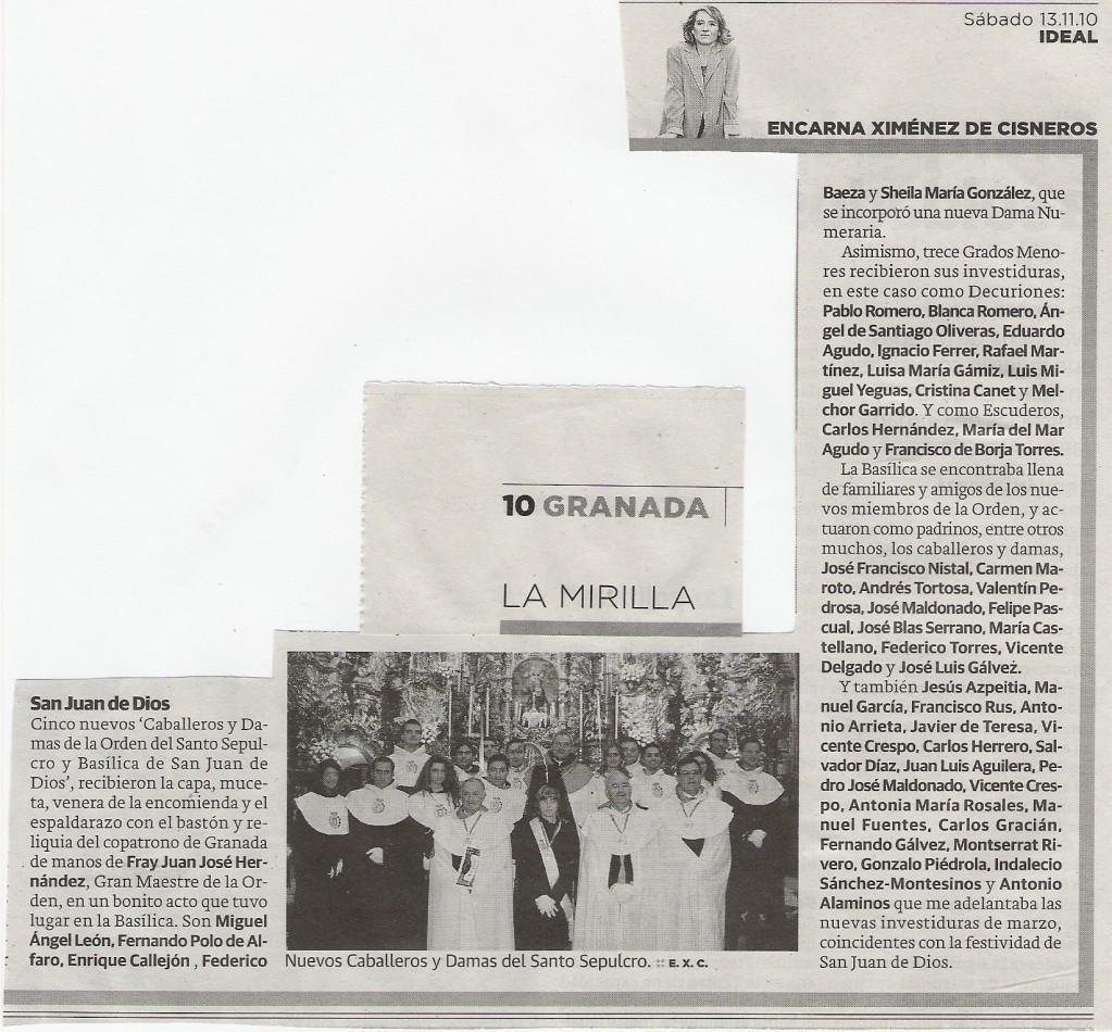 IDEAL, Investiduras de la Orden de San Juan de Dios del 6-11-2010