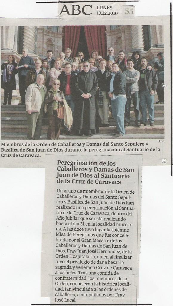 ABC, lunes 13-12-2010, pág 55, Peregrinación de los Caballeros y Damas de San Juan de Dios al Santuario de la Cruz de Caravaca en el Año Jubilar 2010