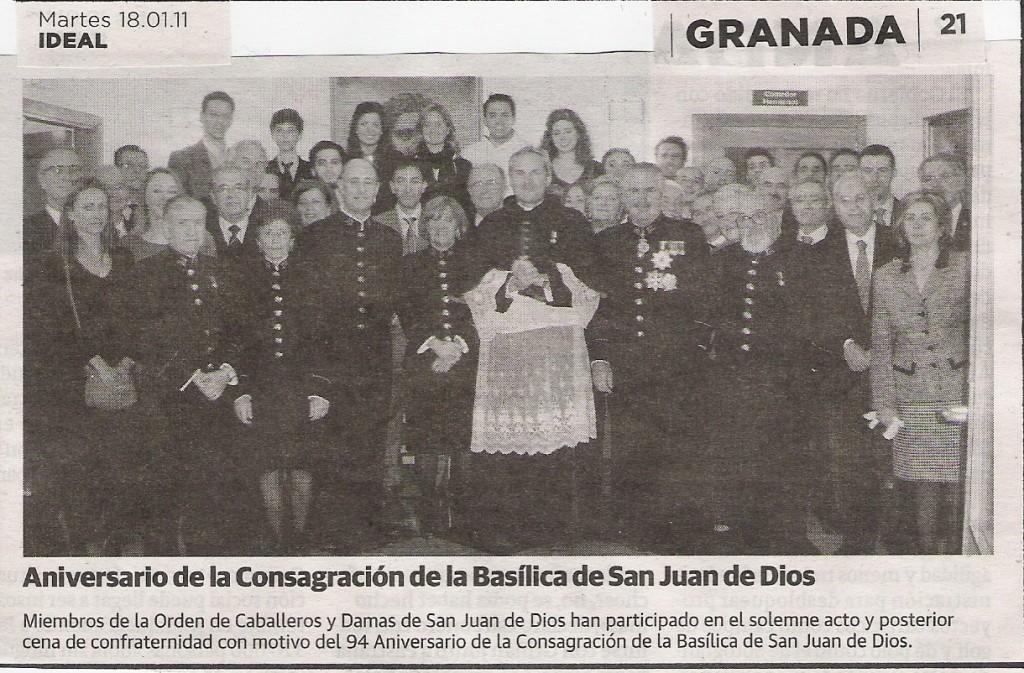 IDEAL 94 Aniversario de la Consagración de la Basilica, Miembros de  la Orden de San Juan de Dios, 18-1-2011